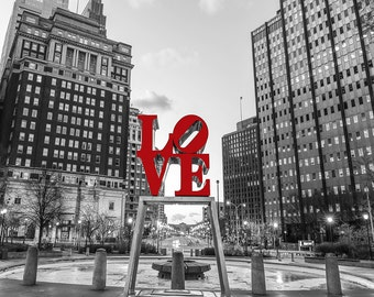 Philadelphia Love Park Black And White 12 x14 At night