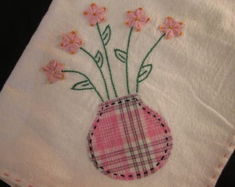 Vintage  Kitchen Towel Tea towel Applique with Hand Stitching