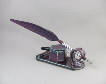 Quill Desk Set - Feather Dip Pen with Ink Well and Stand