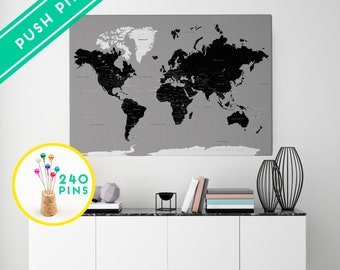 Black world map etsy custom large world map canvas rustic gray and black countries capitals usa and gumiabroncs Gallery