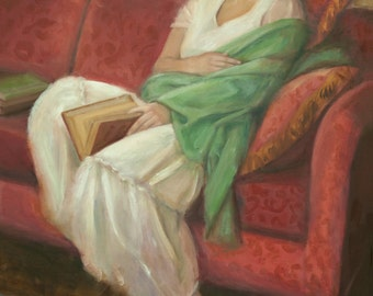 Reclining with Book - oil on canvas