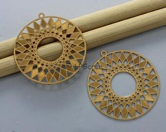 2 prints - round stylistic - gold - 27mm Diam pendant # L14