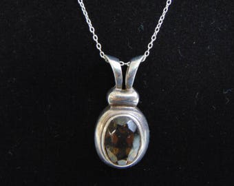 Vintage Sterling Silver Necklace w/ Smoky Quartz SOMA Pendant 8.2g E912