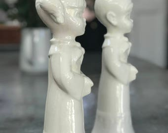 Porcelain Choir Boy and Girl Candle Holders, Glossy white