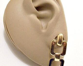 Monet Blue Square Hoop Pierced Stud Earrings Gold Tone Vintage Navy Enamel Striped Edge Double Ring Chain Link Dangles