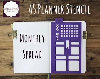 A5 Planner stencil - month layout - reusable - bullet journal / planner / template