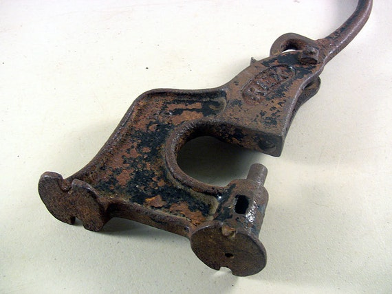Vintage Rivet Tool : Antique cast iron tool rivet press leather stand mount