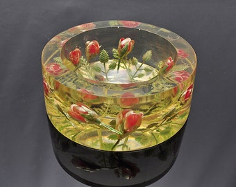 Lucite Atomic Era Rosebud Sculpture Bowl