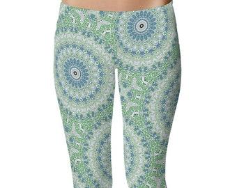 Boho Beach Leggings, Ladies Yoga Leggings, Ocean Blue and Sea Green Mandala Yoga Pants