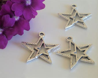 3 charms in silver double stars