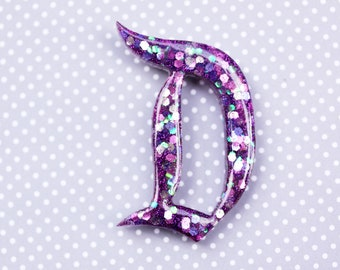 Purple Disney D Brooch