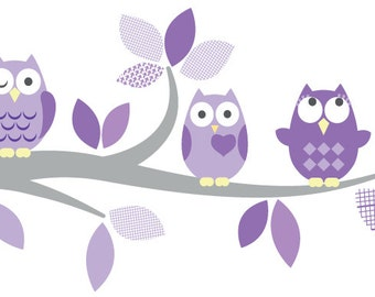 Kids Tree Branch decal -  Owl decal - nursery decal - vinyl wall decal