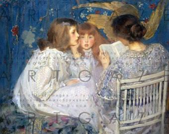STORY TIME With Mother! Fab Pre Raphaelite Painting. Book Reading Vintage Illustration. Digital Reading Download.
