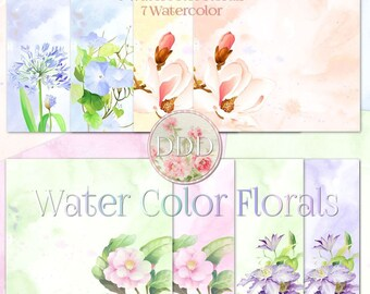 Water Color Florals Digital Paper Pack Peach Green Pink Yellow Blue | Instant Download