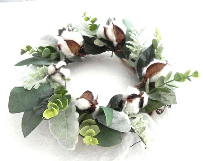Mini Wreath, Greenery Farmhouse Wreath, Eucalyptus, Lambs Ear and Cotton, Handmade Wreath, Fixer Upper, Farmhouse Decor, Wall Decor,
