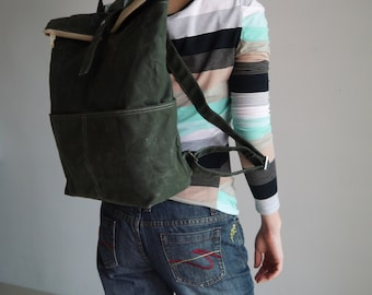 Etsy's 13th Birthday Sale 25% -  ZEN, Dark Green, Waxed Canvas Backpack , Satchel, Rucksack, School Backpack, Hipster Backpack