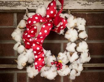Cotton Boll Wreath, Bee My Valentine Wreath, 12 Inch Cotton Wreath , Valentine's Day Cotton Wreath , Be My Valentine Wreath, Faux Cotton