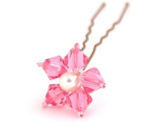 Pink Flower Hair Pins. Swarovski Crystal. Bridal Hair Pins. Wedding Hair Accessories.