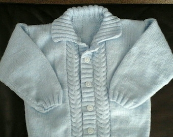 Pale blue cabled cardigan jacket with collar