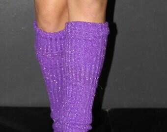 Glitter Extra Long Stirr-up Knit Legwarmers Purple