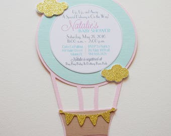 Hot Air Balloon Invitation In Pink And Gold Zazzle Www