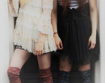 Colourful Fair Isle KNEE Socks - Candy Orange Ribbed Wool Tall Socks - Classic Over the Knee LOLITA Socks - Grunge Skater Socks - Plus Size