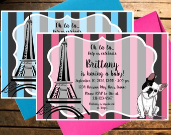 Downloadable Parisian Baby Shower Invitation For A Girl