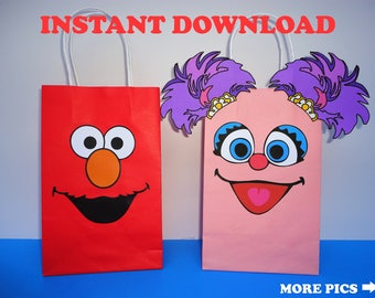 Elmo and Abby Cadabby Party FAVOR BAGS/ Elmo & Abby Cadabby Birthday Party Bags/ Elmo Favors/ Goody/ Candy/ Goodie/ Treat/ Loot/ Gift/ Bags