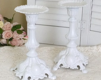2 Shabby Vintage PILLAR CANDLE HOLDERS Candlesticks Ornate Wedding Chic White Metal Pair