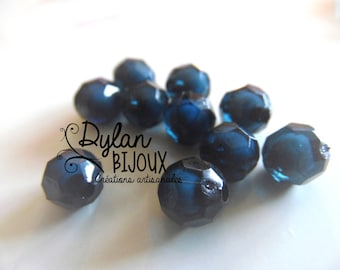 Faceted acrylic bead Ø 10 mm / blue black