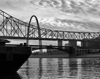 Downtown St. Louis, Gateway Arch, Original Photograph, St. Louis Missouri riverfront, City, STL decoration, photography, black and white