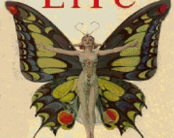 Vintage Art Deco Butterfly Life Magazine Cover Cross stitch pattern - PDF - Instant Download!