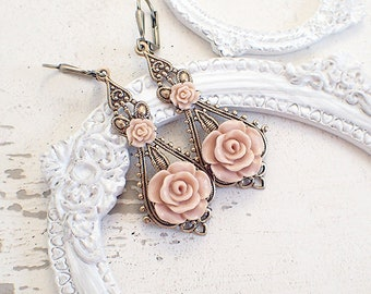 Shabby Blush Rose Earrings - Vintage Style Cottage Chic Rustic Barn Wedding Resin Flower Earrings - Rose Gold Color with Lever Backs
