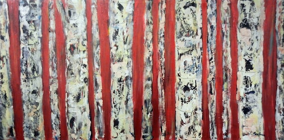 BIRCH Tree Oil Painting ORIGINAL Abstract Art Birch Forest Red Brown White - 48x24 - Original Paintings by BenWill