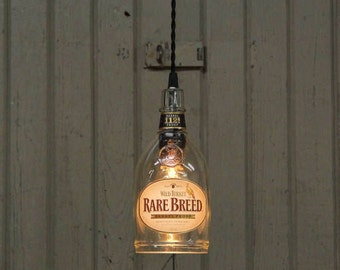 Wild Turkey Rare Breed Bottle Pendant Light-Upcycled Industrial Glass Ceiling Light-Handmade Bourbon Bottle Light Fixture, Recycled Lighting