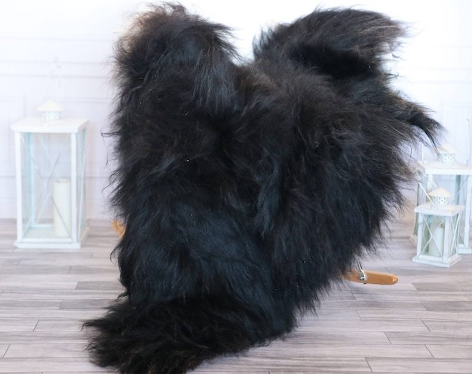 Icelandic Sheepskin | Real Sheepskin Rug | Black Sheepskin Rug | Fur Rug | Christmas Decorations #ISLA22