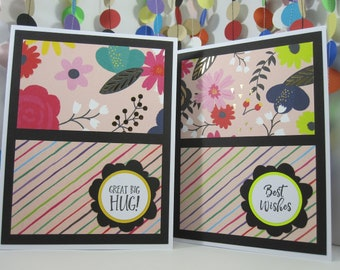 Colorful Floral Card - choose greeting and color - missing you - best wishes - hello friend - great big hug - thank you - hey y'all