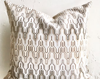 Neutral Zig Zag Pillow Covers, 18x18 Decorative Throw Pillows, desert sand Moroccan Style Accent Pillows, Tan, grey, ivory Ikat Zig Zag
