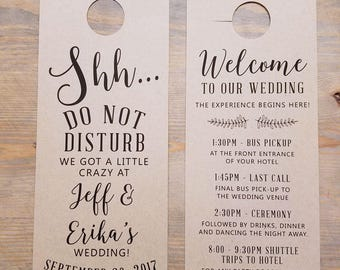 Do not disturb wedding door hangers, wedding itinerary, wedding welcome, hotel door hangers, wedding sign, guest room hanger, RC17002