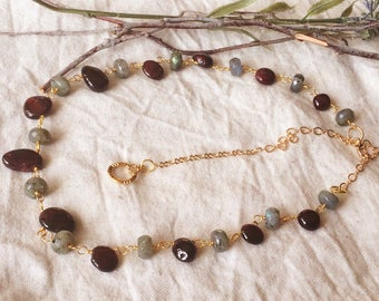 Garnet and labradorite necklace