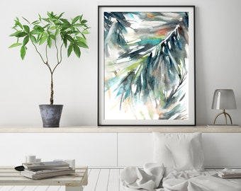 Palm Green Leaves Art Print, Palm leaves watercolor painting art, eco home decor print art, green botanical modern wall art print