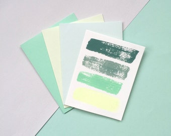 Green Hand-painted Cards, Six Pack