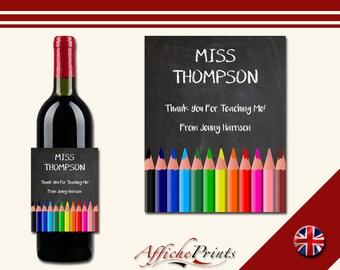 L137 Personalised Teacher Chalk Board Thank You School Year Christmas Wine Custom Bottle Label - Perfect Gift!