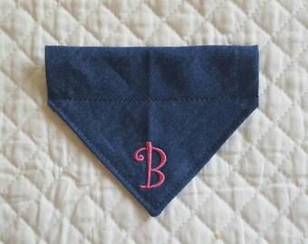 Denim Dog Bandana, 1 Letter, Monogrammed Dog Bandana, Dogs Accessories, Pet Clothing,Dogs, Personalized Dog Bandana,Pets