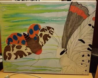 Moths in flight painting
