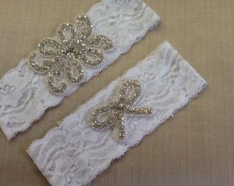 White Garter Set Lace Garter ,Rhinestone Garter,Crystal Beaded Garter