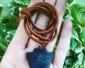 Damascus Arrowhead Necklace