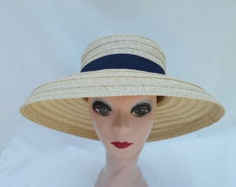 Beige Color Lampshade Style Summer Hat / Retro Lampshade Style Straw Hat / Derby Hat / Garden Party Hat