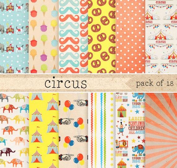circus patterns digital paper  vintage carnival textures