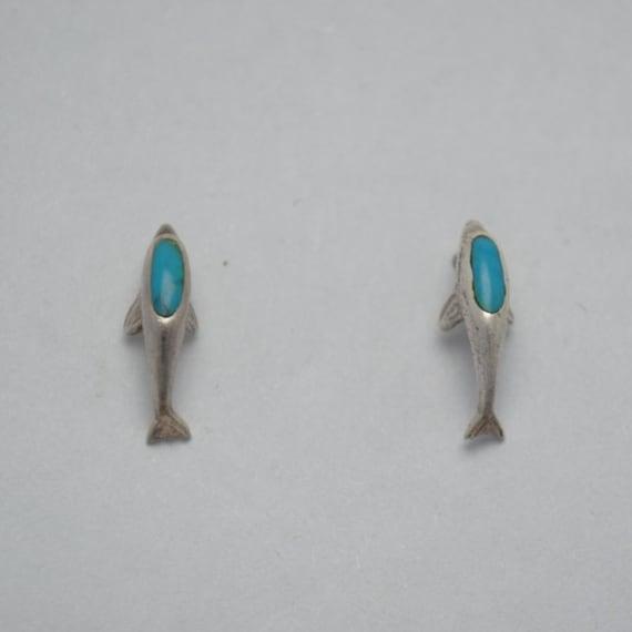 Boucles d'oreilles dauphins en turquoise et argent